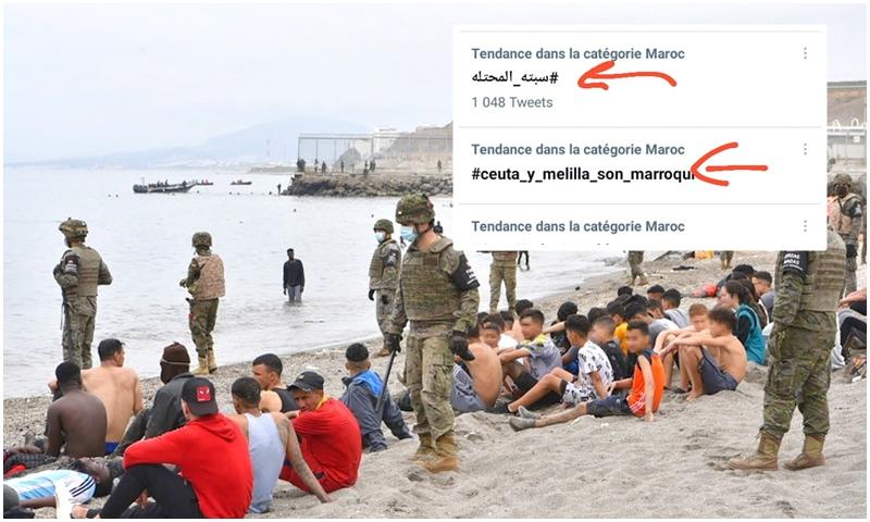 هاشتاغ 'سبتة ومليلية مغربية' يكتسح التويتر المغربي بعد أحداث الاقتحام
