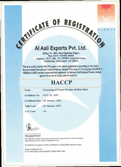 HACCP Buffalo meat Certification