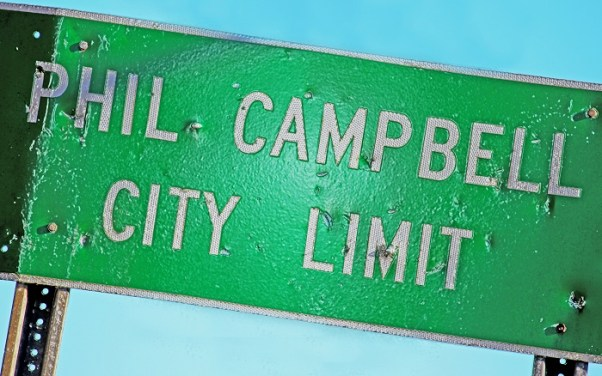 A Phil Campbell City Limit sign displays the scars of April 27, 2011. (Contributed)