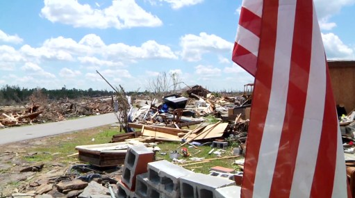 The Alabama town of Phil Campbell after the April 27, 2011 tornadoes practically swept it away. (Contributed)