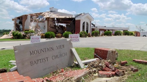 Mountain View Baptist Church in Phil Campbell, Alabama, after the April 27, 2011 tornadoes devastated the town. (Contributed)