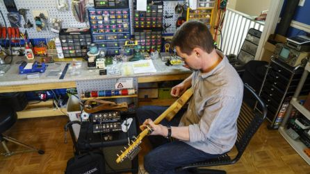 Gabe's interest in guitar amps and effects pedals came from a childhood fascination with electronics and his days playing in bands around north Alabama. (Mark Sandlin/Alabama NewsCenter)