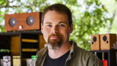 Founder of the Smokin' Amps Company, Gabe Williams creates custom-made amps and guitar effects foot pedals for guitarists and bass players around the world. (Mark Sandlin/Alabama NewsCenter)