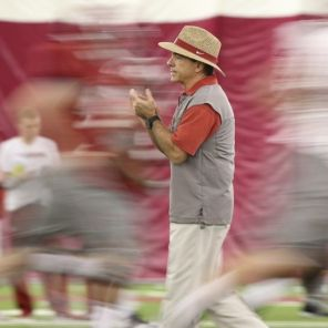 Saban during practice (Kent Gidley/UA Athletics)