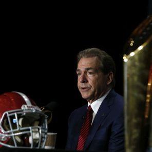 Saban speaks at a press conference (Robert Sutton/UA Athletics)