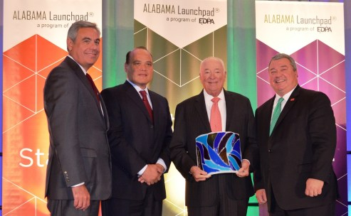 Honoring Lifetime Achievement in Innovation are, from left, EDPA Chairman and Alabama Power CEO Mark Crosswhite, Adtran CEO Tom Stanton, Anderson Cos. Chairman Joel Anderson, and Alabama Commerce Secretary Greg Canfield. (Michael Tomberlin / Alabama NewsCenter)