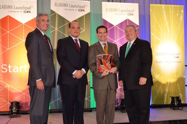 Honoring Corporate Innovator of the Year, small company are, from left, EDPA Chairman and Alabama Power CEO Mark Crosswhite, Adtran CEO Tom Stanton, IllumiCare CEO G.T. LaBorde, and Alabama Commerce Secretary Greg Canfield. (Michael Tomberlin / Alabama NewsCenter)