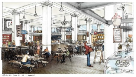 The food hall at the Pizitz building will have a variety of foods and a bar in the center. (contributed)