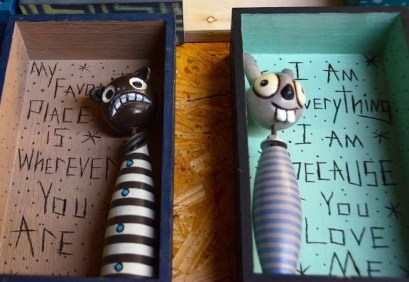 Chris Cumbie makes his creeps from carved wood and found objects, and each comes with its own caption, ranging from creepy to sweet. (Karim Shamsi-Basha/Alabama NewsCenter)
