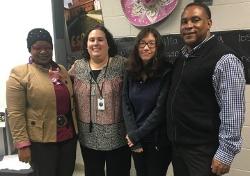 Carver High School teacher Rebecca Blumenfield, second from left, and student Katana Soberano, second from right, are Fusion NextGen finalists. (Brittany Faush-Johnson/Alabama NewsCenter)