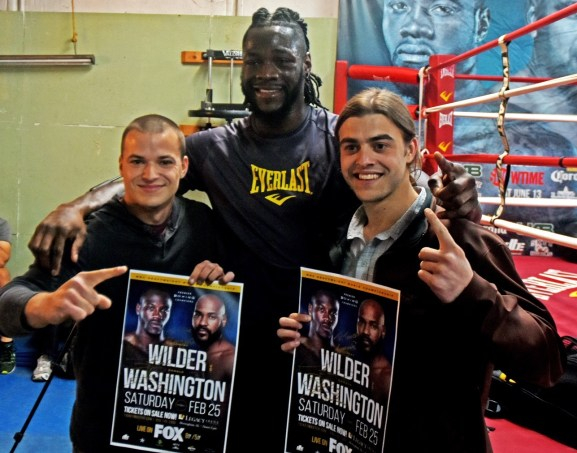 Deontay Wilder poses for a photo with fans at Skyy Gym in Northport. (Solomon Crenshaw Jr./Alabama NewsCenter)