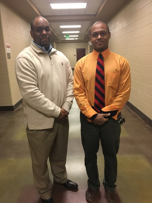 Huffman High School teacher Justin Sanders, right, is a Fusion NextGen finalist. (Brittany Faush-Johnson/Alabama NewsCenter)