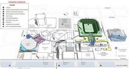 The proposed BJCC expansion. Topgolf is now under construction on the two blocks bordered by 11th and 12th Avenues North and 24th and 26th Streets. (BJCC)