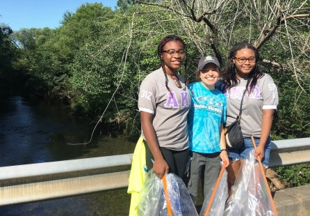 Sorority members were among the volunteers who helped make Valley Creek cleaner. (Freshwater Land Trust)