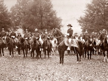 Joseph Wheeler, foreground, on the horse given to him in Huntsville during the Spanish-American War in 1898. Wheeler was major general of volunteers during the war. (From Encyclopedia of Alabama, Alabama Department of Archives and History)