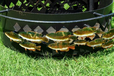 Jim Trainer found fish to be a popular adornment for his fire pits in the Mobile area. (Mark Sandlin / Alabama NewsCenter)