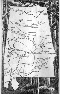 A rustic map from Stars Fell on Alabama, showing the state as author Carl Carmer viewed it. (Encyclopedia of Alabama)