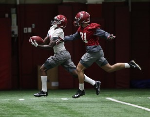 The Tide's Calvin Ridley prepares for the Clemson Tigers. (Kent Gidley / University of Alabama Athletics)