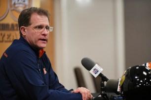 Auburn Head Coach Gus Malzahn talks with the press on Wednesday in Atlanta. (Todd Van Emst/AU Athletics)