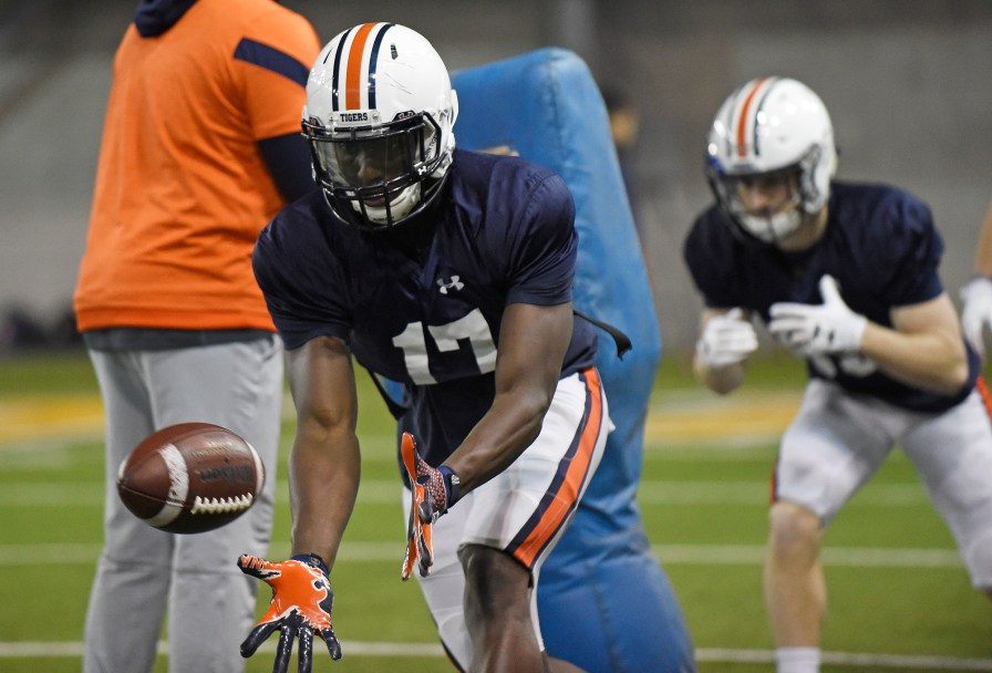 Auburn wide receiver Marquis McClain (17) makes a catch in drills Wednesday. (Todd Van Emst/AU Athletics)