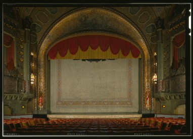 View of the stage with fire curtain, Alabama Theatre, Birmingham. (HABS, Library of Congress Prints and Photographs Division)