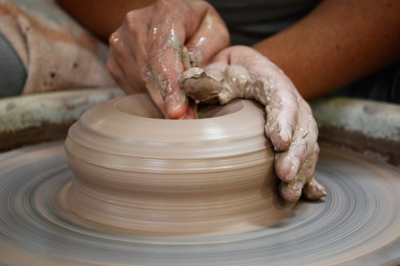 Maya Blume-Cantrell says she was drawn to pottery because clay can be molded into anything you can imagine. (Karim Shamsi-Basha / Alabama NewsCenter)