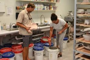 Maya Blume-Cantrell and her husband, batik painter Nick Cantrell, are happy they can make a living as artists, she says. (Karim Shamsi-Basha / Alabama NewsCenter)