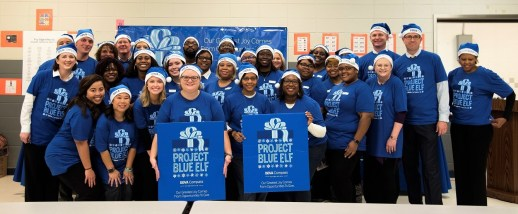 The volunteers of Project Blue Elf spread some cheer. (Brittany Faush / Alabama NewsCenter)