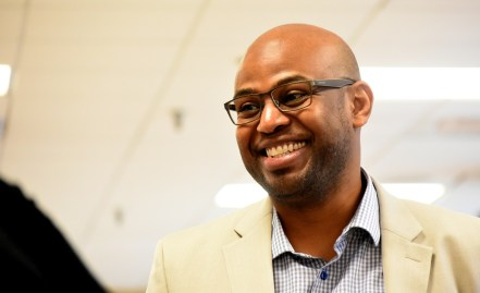 Monty Jones Jr., general manager of the Hoover Metropolitan Complex, is all smiles with the announcement of East Coast Pro Baseball coming to town the next three years. He also is a part of Sports Facilities Management. (Solomon Crenshaw / Alabama NewsCenter)