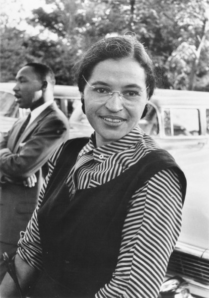 Rosa Parks and Dr. Martin Luther King, Jr., c. 1955. (National Archives and Records Administration, Local ID: 306-PSD-65-1882; Wikipedia)