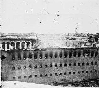 Ruins of Fort Morgan, c. 1861-1869. (Photograph by McPherson & Oliver, Library of Congress Prints and Photographs Division)