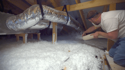 Blown-in insulation is one of the methods used to make Smart Neighborhood homes more energy-efficient. (David Macon / Alabama NewsCenter)