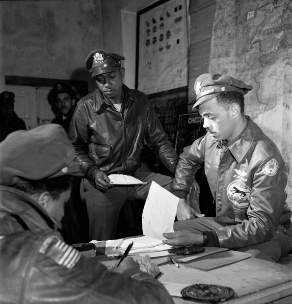 Tuskegee airmen Woodrow W. Crockett and Edward C. Gleed, Ramitelli, Italy, March 1945. (Library of Congress Prints and Photographs Division)