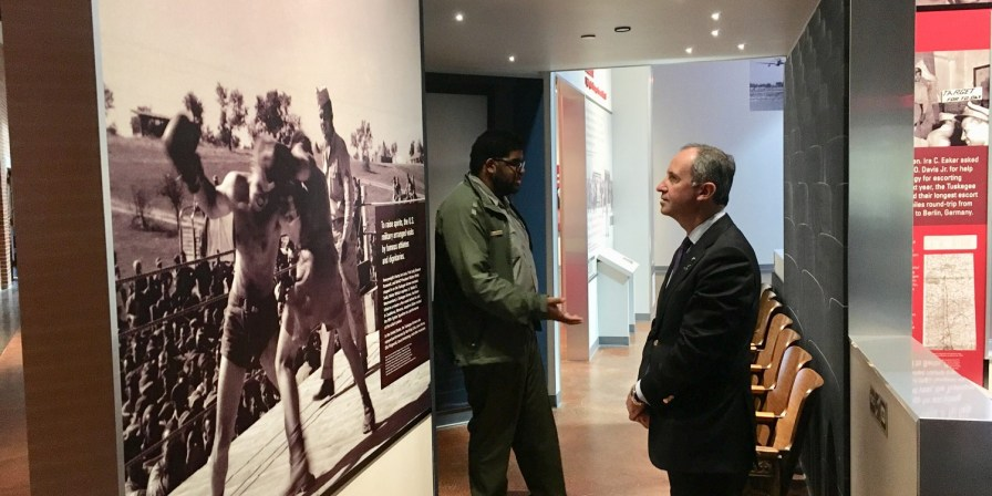 Italian Ambassador Armando Varricchio tours the Tuskegee Airmen Museum during a visit to the city to support Leonardo's T-100 jet trainer project. (contributed)