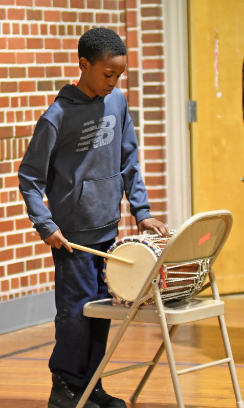 Kordarrius Ward plays his part in the Sounds of Authority drum section. (Solomon Crenshaw Jr. / Alabama NewsCenter)