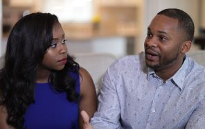 Kristen Watts listens to husband Deaushay Watts, who says he wants to encourage men in their married life. (Bruce Nix/Alabama NewsCenter)