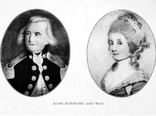 Elias Durnford (1739-1794) and his wife, Rebecca Walker, were married in 1769. Durnford was a central figure in the establishment of the British colony of West Florida. He was chief engineer and surveyor general of the colony, and in 1769 was named lieutenant governor. He served in that capacity until Spanish forces invaded West Florida in 1779. (From Encyclopedia of Alabama)