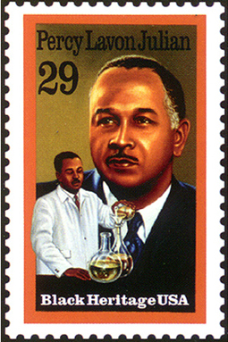 The United States Postal Service honored Alabama-born chemist Percy Julian with the 1993 issuance of a stamp bearing his likeness as part of its Black Heritage Series. (From Encyclopedia of Alabama, Courtesy of United States Postal Service)