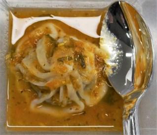Chef Abhi Sainju made Asian dumplings with sauce. (Michael Tomberlin / Alabama NewsCenter)
