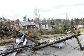 Electric infrastructure suffered extensive damage in and around Jacksonville. (Wynter Byrd / Alabama NewsCenter)