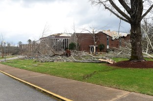 Jacksonville State University had a number of buildings damaged. (Wynter Byrd / Alabama NewsCenter)