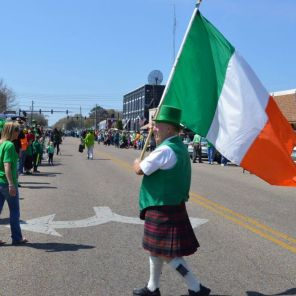 The streets are filled with celebration in Enterprise with the St. Patrick's Day Parade. (Brittany Faush/Alabama NewsCenter)