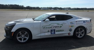 The University of Alabama's EcoCAR contender, a retooled Chevrolet Camaro, is nearing the finish line for the four-year competition. (Anna Catherine Roberson/Alabama NewsCenter)
