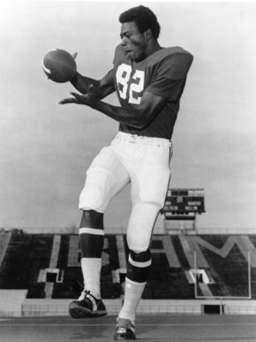 Muscle Shoals native Ozzie Newsome led the University of Alabama football team to a record of 42 wins and 6 losses during his four years with the program. He went on to play for the Cleveland Browns of the National Football League from 1978-90 and currently is general manager of the Baltimore Ravens. (From Encyclopedia of Alabama, courtesy of Paul W. Bryant Museum, University of Alabama)