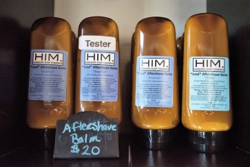 The HIM line of products at Fairhope Soap Co. are designed for men. (Brittany Faush / Alabama NewsCenter)