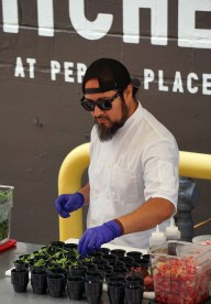 James Huckaby's demo at the Market at Pepper Place June 2. (Erin Harney/Alabama NewsCenter)