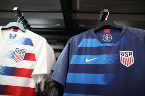 Team USA jerseys are seen as the World Cup tournament being held in Russia kicked off June 13. (Joe Raedle/Getty Images)