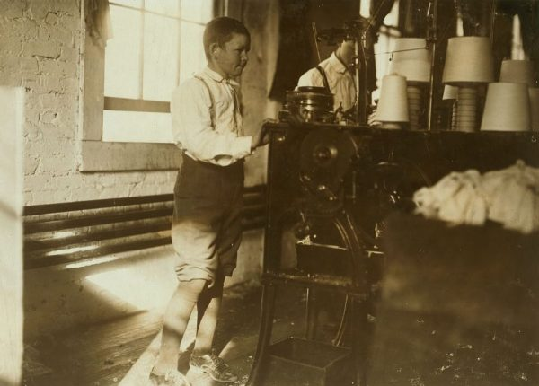 Boy working in Talladega Hosiery Mills, November 1910. (Photograph by Lewis Wickes Hines, Library of Congress, Prints and Photographs Division)