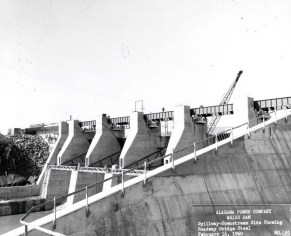 Weiss Dam spillway, view from downstream, 1960. (Alabama Power Company Archives)