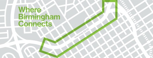 A map shows the location and configuration of the proposed linear park, CityWalk BHAM. (contributed)
